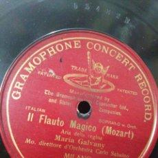 Discos de pizarra: LA FLAUTA MÁGICA(MOZART)MARIA GALVANY-GRAMOPHONE CONCERT RECORD,DISCO,AÑOS 20-30. Lote 210566092
