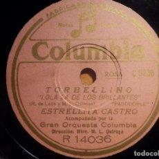 Discos de pizarra: PIZARRA COLUMBIA R 14036 - ESTRELLITA CASTRO - TORBELLINO, EL LAUREL, LOLA LA DE LOS BRILLANTES. Lote 210566165