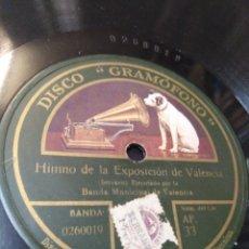 Discos de pizarra: DISCO GRAMÓFONO-HIMNO DE LA EXPOSICIÓN DE VALENCIA(SERRANO)-SERENATA MORISCA(CHAPI)AÑOS 20-30,. Lote 210567087