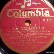 Discos de pizarra: COLUMBIA R 6045, ESTRELLITA CASTRO, LA GITANILLA, AY MI AMOR ¿DONDE IRA?, LA NIÑA DE LOS TRES NOVIOS. Lote 210568103