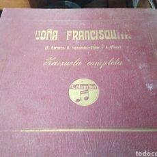 Discos de pizarra: ÁLBUM DISCOS PIZARRA-DOÑA FRANCISQUITA(F.ROMERO-G.FERNANDEZ,VIVES-ZARZUELA COMPLETA, A FALTA DEL 1. Lote 210569671