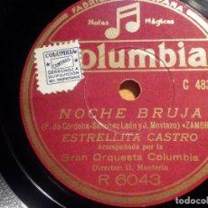 Discos de pizarra: COLUMBIA R 6043, ESTRELLITA CASTRO, LA MORENA DE MI COPLA, NOCHE BRUJA, ZAMBRA. Lote 210571447
