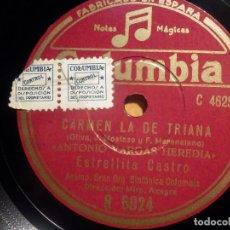 Discos de pizarra: COLUMBIA R 6024, ESTRELLITA CASTRO, CARMEN LA DE TRIANA - LOS PICONEROS, ANTONIO VARGAS HEREDIA. Lote 210574857
