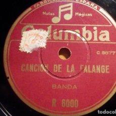 Discos de pizarra: PIZARRA COLUMBIA R 6000 - CANCIÓN DE LA FALANGE - BANDA, BANDA Y COROS -. Lote 210579890
