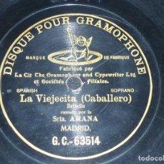 Discos de pizarra: DISCO 78 RPM - G&T BLACK - LUCRECIA ARANA - SOPRANO - LA VIEJECITA - CABALLERO - OPERA - PIZARRA. Lote 210585243