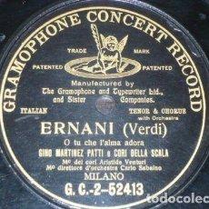 Discos de pizarra: DISCO 78 RPM - G&T BLACK - GINO MARTINEZ PATTI - CORI DELLA SCALA - ERNANI - VERDI - OPERA - PIZARRA. Lote 210586021