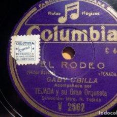 Discos de pizarra: PIZARRA COLUMBIA V 2562 - GABY UBILLA - EL RODEO, ALI BABA. Lote 210586120