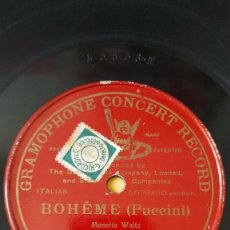 Discos de pizarra: DISCO 78 RPM - PREDOG GCR RED - GINA C. VIAFORA - SOPRANO - BOHEME - PUCCINI - OPERA - PIZARRA. Lote 210586903