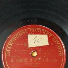 Discos de pizarra: DISCO 78 RPM - PREDOG GCR RED - MARIA GALVANY - IL BARBIERE DI SIVIGLIA - ROSSINI - ITALIA - PIZARRA. Lote 210587826