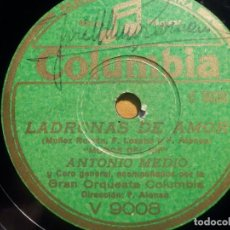 Disques en gomme-laque: COLUMBIA V 9008 LADRONAS DE AMOR, ULTIMO VARÓN SOBRE LA TIERRA, MARUJA TOMÁS ANTONIO MEDIO MOROS RIF. Lote 210599935