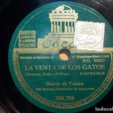 Discos de pizarra: PIZARRA ODEON 203.788 - GRACIA DE TRIANA - ROSA DE PUENTE GENIL, LA VENTA DE LOS GATOS. Lote 210616016
