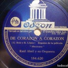 Discos de pizarra: PIZARRA ODEON 184.620 - RAUL ABRIL Y SU ORQUESTA - NUETRO AMOR, DE CORAZÓN A CORAZÓN. Lote 210617878