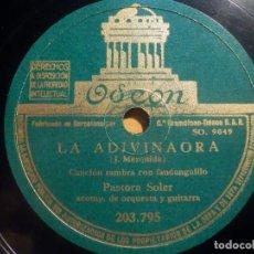 Discos de pizarra: PIZARRA ODEON 203.795 - PASTORA SOLER, LA ADIVINAORA, MANOLO CRÚ. Lote 210654141