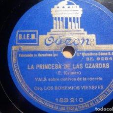 Discos de pizarra: PIZARRA ODEON 183.210 - LOS BOHEMIOS VIENESES, LA PRINCESA DE LAS CZARDAS, MORFINA. Lote 210654654