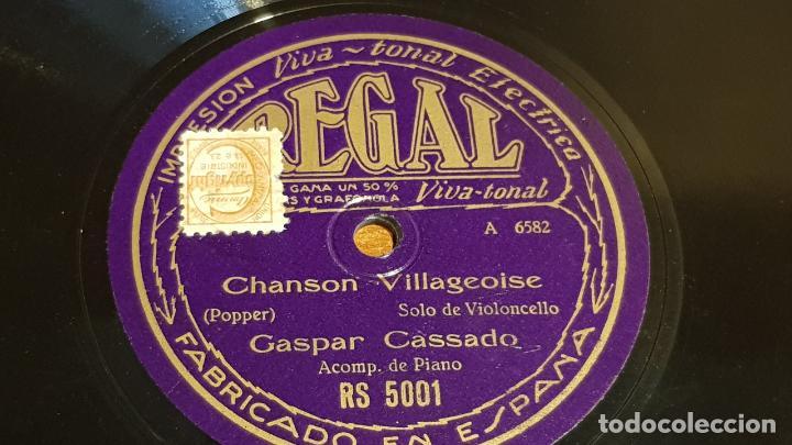 PIZARRA !! GASPAR CASSADO / CHANSON VILLAGEOISE-MENUETT / SOLO VIOLONCELLO / 25 CM (Música - Discos - Pizarra - Otros estilos)