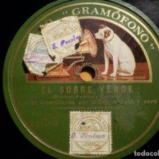 Discos de pizarra: PIZARRA GRAMOFONO AE 1765 - EL SOBRE VERDE - MODISTAS Y OFICIALES, CHULAS ORGANILLERAS, SRA. ALBIACH. Lote 210670436