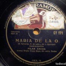 Discos de pizarra: PIZARRA GRAMÓFONO OKA 74 - GY 171 - PILAR ARCOS - ,MARÍA DE LA O, RECUERDO A LA PETENERA. Lote 210676495