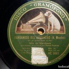 Discos de pizarra: PIZARRA GRAMÓFONO AE 3883 - NIÑO DE MARCHENA - FANDANGOS DEL JARDINERO, AL SON DE MI PASODOBLE. Lote 210677811