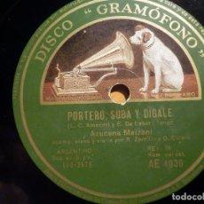 Discos de pizarra: PIZARRA GRAMÓFONO AE 4036 - AZUCENA MAIZANI - PORTERO SUBA Y DIGALE, TE ODIO. Lote 210679211