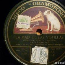 Discos de pizarra: PIZARRA ODEON AE 541 - LA ARGENTINITA - LA MAJA DE LAS VISTILLAS, LA HUERTA VALENCIANA. Lote 210681392