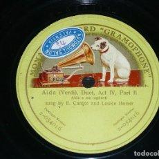 Discos de pizarra: DISCO 78 RPM - GMR GREEN - CARUSO - HOMER - DUO - AIDA - VERDI - OPERA - RARO - PIZARRA. Lote 210687599