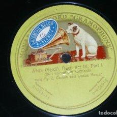 Discos de pizarra: DISCO 78 RPM - GMR GREEN - CARUSO - HOMER - GIA I SACERDOTI ADUNANDI - AIDA - VERDI - PIZARRA. Lote 210688387