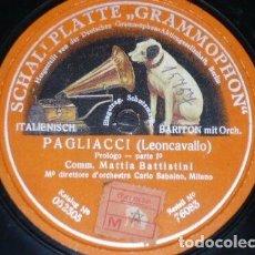 Discos de pizarra: DISCO 78 RPM - GRAMMOPHON - MATTIA BATTISTINI - PAGLIACCI - LEONCAVALLO - OPERA - ITALIA - PIZARRA. Lote 210690282
