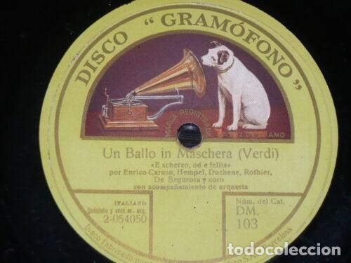 DISCO 78 RPM - GRAMOFONO - CARUSO - HEMPEL - DUCHENE - ROTHIER - DE SEGUROLA - OPERA - PIZARRA (Música - Discos - Pizarra - Clásica, Ópera, Zarzuela y Marchas)