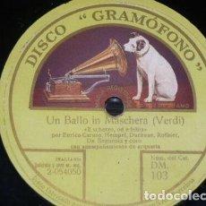 Discos de pizarra: DISCO 78 RPM - GRAMOFONO - CARUSO - HEMPEL - DUCHENE - ROTHIER - DE SEGUROLA - OPERA - PIZARRA. Lote 210955824