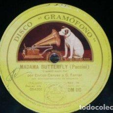 Discos de pizarra: DISCO 78 RPM - GRAMOFONO - CARUSO - FARRAR - MANON - MASSENET - MADAME BUTTERFLY - OPERA - PIZARRA. Lote 210957781