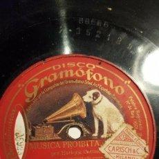 Discos de pizarra: DISCO 78 RPM - GRAMOFONO - ENRICO CARUSO - TENOR - MUSICA PROIBITA - GASTALDON - OPERA - PIZARRA. Lote 210961520