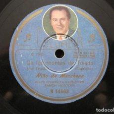 Discos de pizarra: NIÑO MARCHENA,/ DE LOS MONTES DE TOLEDO / RECUERO DE RIO JANEIRO (COLUMBIA R 14563). Lote 211264980