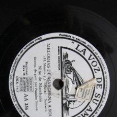 Discos de pizarra: NIÑO MARCHENA / MELODIAS DE MARCHENA A SOLEA / DE LOS MONTES DE ZOCO EL HAMMA (LA VOZ DE SU AMO AA 2. Lote 211266614