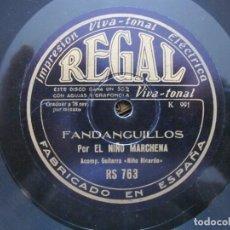 Discos de pizarra: NIÑO MARCHENA / FANDANGUILLOS / LEVANTIZCA FLAMENCA (REGAL RS 763). Lote 211269452