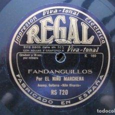 Discos de pizarra: NIÑO MARCHENA / FANDANGUILLOS / CANTO MEXICANO (REGAL RS 720). Lote 211269615