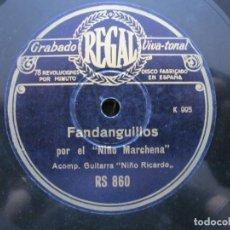 Discos de pizarra: NIÑO MARCHENA / FANDANGUILLOS / SOLEARES (REGAL RS 860). Lote 211269935