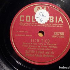 Discos de pizarra: PIZARRA COLUMBIA 36780 - TICO-TICO - ELENA VERDUGO, XAVIER CUGAT, LINDA MUJER. Lote 211504872