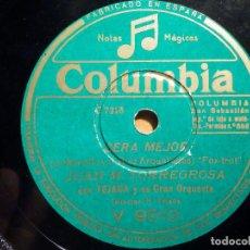 Discos de pizarra: PIZARRA COLUMBIA V 9510 - JUAN M. TORREGROSA, MI VACA LECHERA, SERÁ MEJOR. Lote 211506375