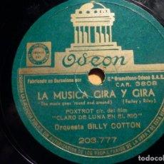 Discos de pizarra: PIZARRA ODEON 203.777 - ANDRÉS MOLTÓ - CASEI, JONES, BLUES - BILLY COTON, LA MÚSICA GIRA Y GIRA. Lote 211509404