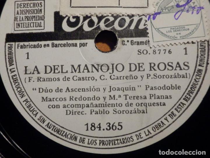 3 PIZARRAS ODEON 184.365-367 - ZARZUELA LA DEL MANOJO DE ROSAS, MARCOS REDONDO Y MARÍA TERESA PLANAS (Música - Discos - Pizarra - Clásica, Ópera, Zarzuela y Marchas)