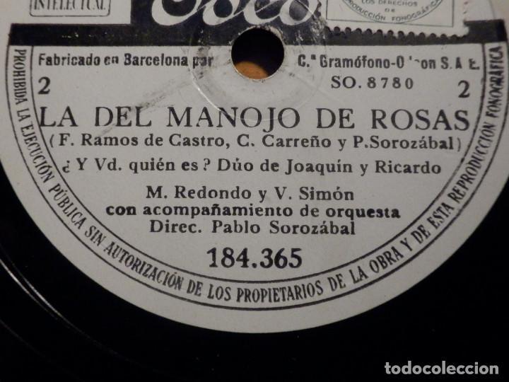 Discos de pizarra: 3 PIZARRAs ODEON 184.365-367 - ZARZUELA La del manojo de rosas, Marcos Redondo y María Teresa Planas - Foto 2 - 211520262