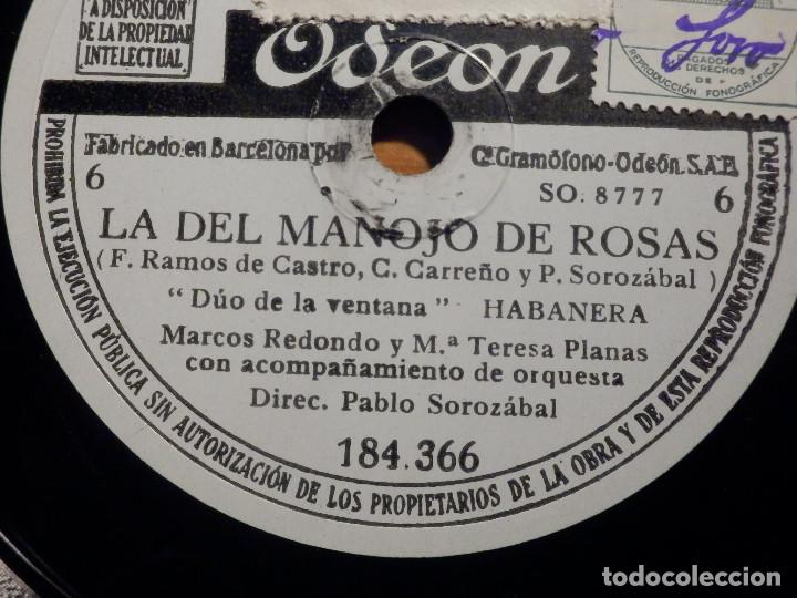 Discos de pizarra: 3 PIZARRAs ODEON 184.365-367 - ZARZUELA La del manojo de rosas, Marcos Redondo y María Teresa Planas - Foto 4 - 211520262