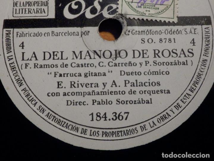 Discos de pizarra: 3 PIZARRAs ODEON 184.365-367 - ZARZUELA La del manojo de rosas, Marcos Redondo y María Teresa Planas - Foto 5 - 211520262