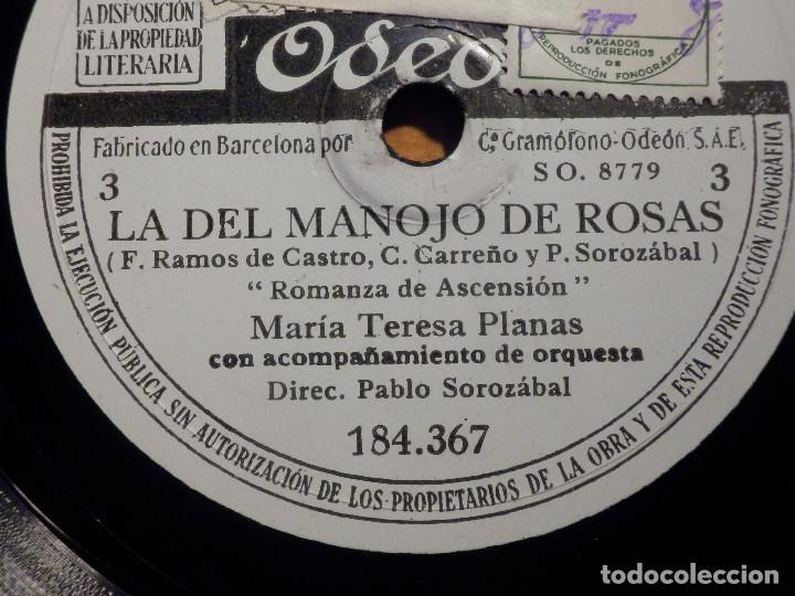 Discos de pizarra: 3 PIZARRAs ODEON 184.365-367 - ZARZUELA La del manojo de rosas, Marcos Redondo y María Teresa Planas - Foto 6 - 211520262