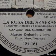 Discos de pizarra: 2 PIZARRAS ODEON 184.161, 163 - ZARZUELA LA ROSA DEL AZAFRAN - CONDESA DE SCLAFANÍ Y MARCOS REDONDO. Lote 211520416