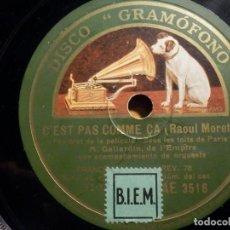 Discos de pizarra: PIZARRA GRAMOFONO AE 3516 - M. GALIARDIN DE L´EMPIRE - SOIS LES TOITS DE PARIS. Lote 211520592