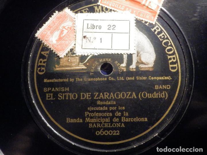 PIZARRA UNA CARA GRAMOFONE 060022 - PROFESORES BANDA MUNICIPAL BARCELONA, EL SITIO DE ZARAGOZA (Música - Discos - Pizarra - Clásica, Ópera, Zarzuela y Marchas)