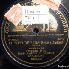 Discos de pizarra: PIZARRA UNA CARA GRAMOFONE 060022 - PROFESORES BANDA MUNICIPAL BARCELONA, EL SITIO DE ZARAGOZA. Lote 211521404