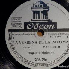 Discos de pizarra: 2 PIZARRA ODEON 203.796, 203.797 - LA VERBENA DE LA PALOMA - CORA RAGA, EMILIO VENDRELL,. Lote 211584280