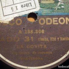 Discos de pizarra: PIZARRA ODEON A 138.307 - PEPITA RAMOS, LA GOYITA - LA QUE TIENE MÁS CARTEL, FADO 31. Lote 212204546
